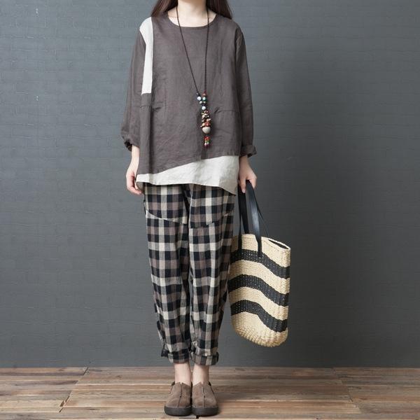 camisa do estilo d7Gep YeCAd Autumn New coreano costura camisa mulheres de grande porte temperamento perder Rami rodada moda pescoço