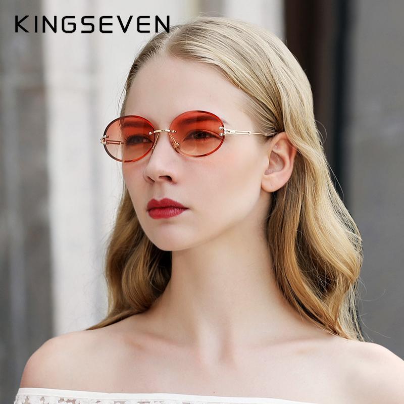 KINGSEVEN Brand Design Mode-Rund Frauen Randlos Steigungs-Sonnenbrille Weinlese-Legierung Rahmen Klassische Schatten Cl200920