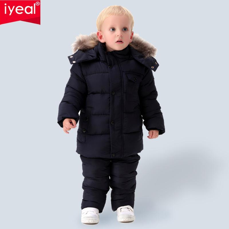 مجموعات الدافئة IYEAL روسيا في فصل الشتاء ملابس الأطفال للبنين الطبيعية فرو إلى أسفل القطن سنو ملابس صامد للريح تزلج البدلة الاطفال ملابس اطفال Y200901