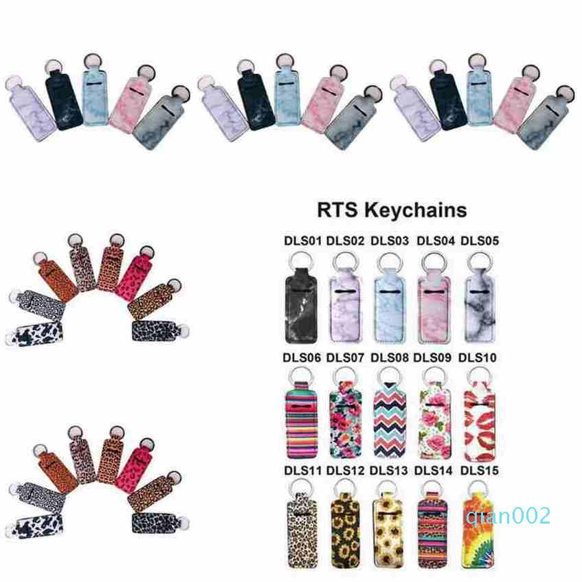 Chapstick Titular Neoprene Wristlet Keychain de mármore Impresso Chapstick Capa Batom Bag Holder partido Chaveiro Pulseira CYZ2554 Favor