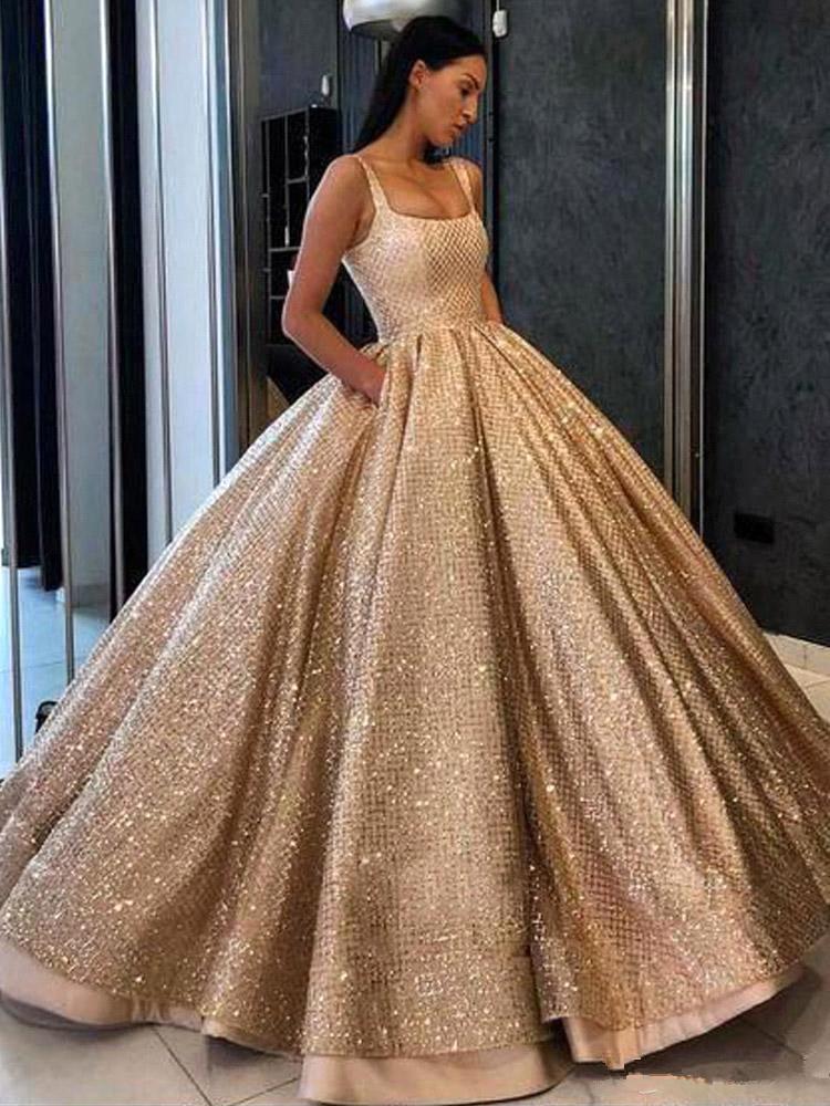 Spakrling GoldPaillette Ballkleid Quinceanera Kleider 2019 mit U-Ausschnitt mit Rüschen besetzten Puffy bodenlangen Plus Size Partei-Kleider Abendkleider BC2297