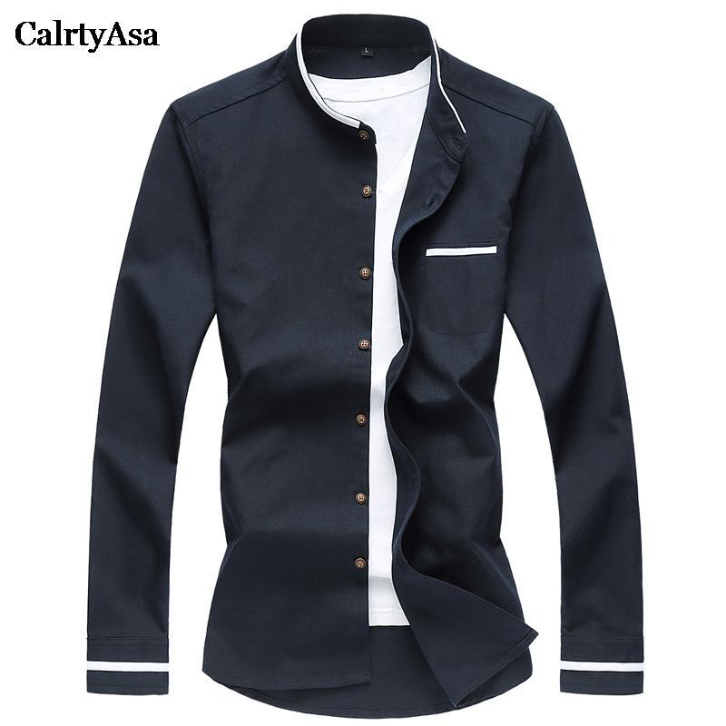 CalrtyAsa estilo chino puro color de la camisa Oxford de los hombres ocasionales de la manera Collar del mandarín camiseta de manga larga Social Hombre Denim Blue