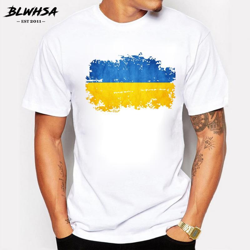 Camiseta del verano de la bandera nacional de los hombres de estilo nostálgico Ucrania Imprimir algodón de manga corta o-cuello de Ucrania ventiladores animan Hombres camiseta