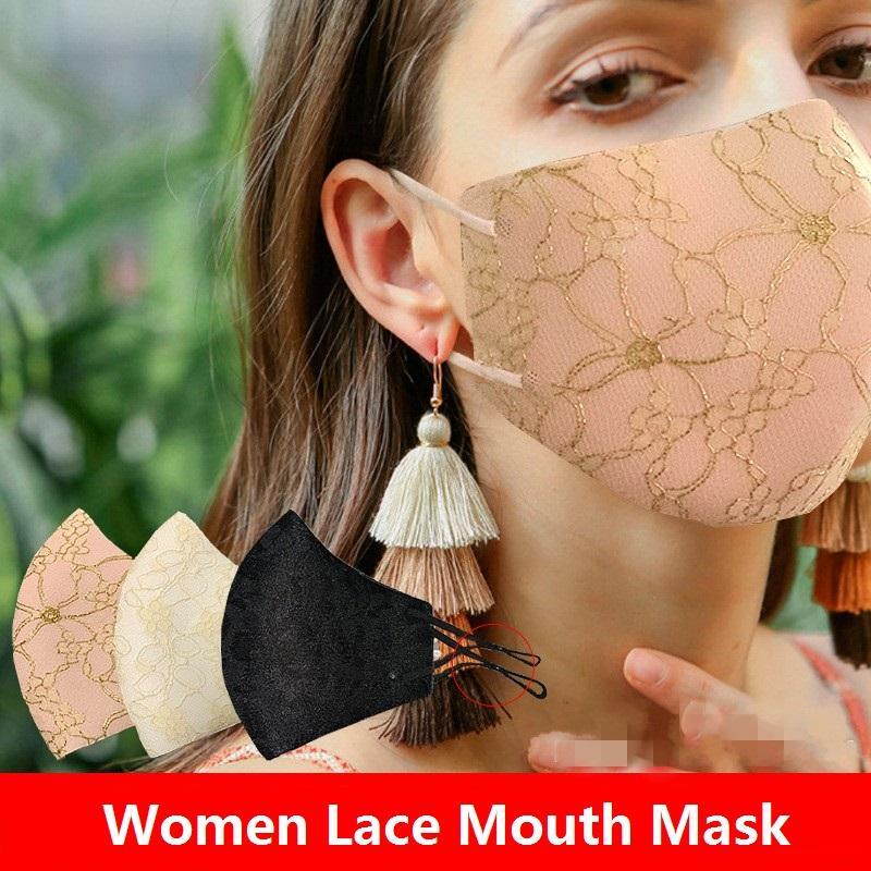 Yaz 3D Dantel Güneş Yüz Ağız Yeniden kullanılabilir Kadınlar Dustprof Ağız Yıkanabilir Respiratörü Yüz Maskesi EWB1024 Maskesi