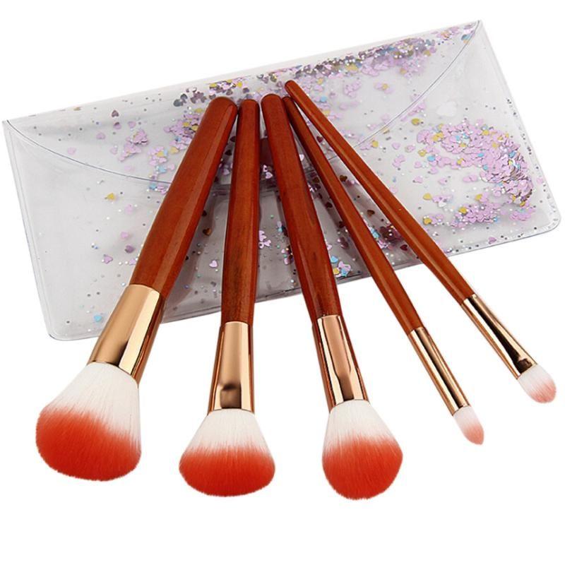 ISHOWTIENDA 5 İmitasyon Maun Sap Makyaj Fırçalar Göz Farı Allık Fırçası Seti Makyaj Fırçalar Pinceaux maquillage ayarlar