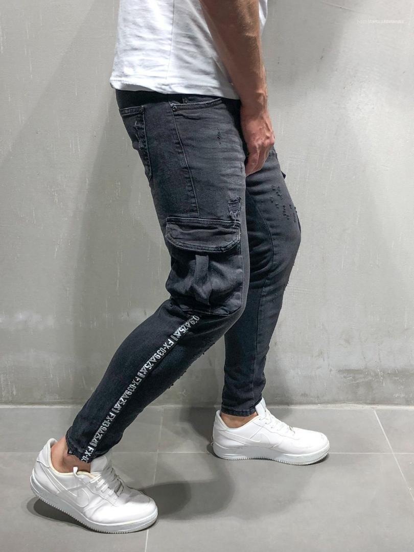 Tasarımcı Çizgili Mektupları Fermuar Biker Jeans Moda Homme Pantolon Erkek Siyah Kalem Pantolon İlkbahar Sonbahar Büyük Cepler Ripped
