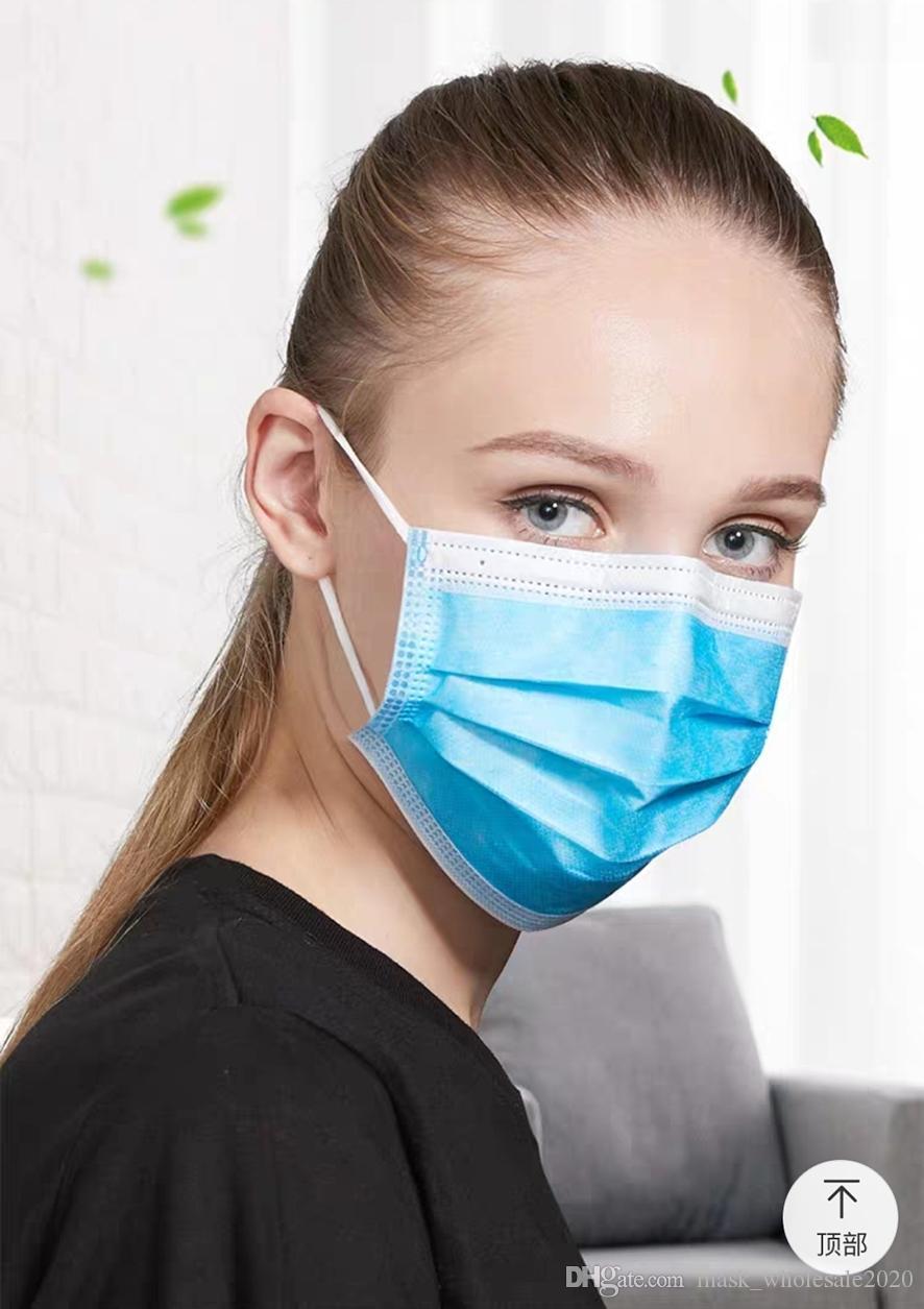la poussière respiratoire à usage unique et la prévention brume adulte masque jetable pour les hommes et les femmes trois couches avec tissu soufflées à l'état fondu perméable à l'air m