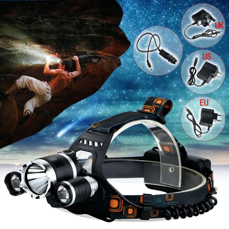 1PCS 4Modes 18650 6000LM LED للمصابيح الأمامية LED T6 2R5 أسود قابلة للشحن العلوي رئيس مصباح الضوء + شاحن (الولايات المتحدة الاتحاد الأوروبي UK) + شاحن سيارة