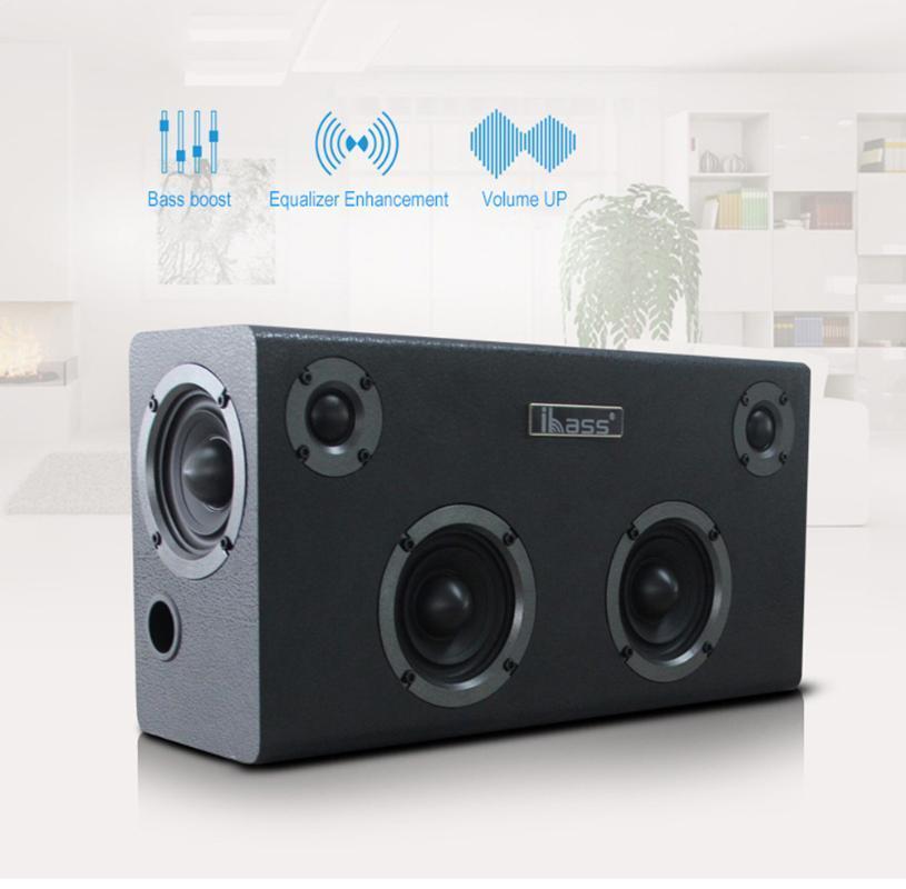 Altavoz Bluetooth IBASS GaGa madera altavoz del coche al aire libre Inicio 6-unidad de TV del ordenador Audio Teléfono Celular apoyo coaxial AUX USB