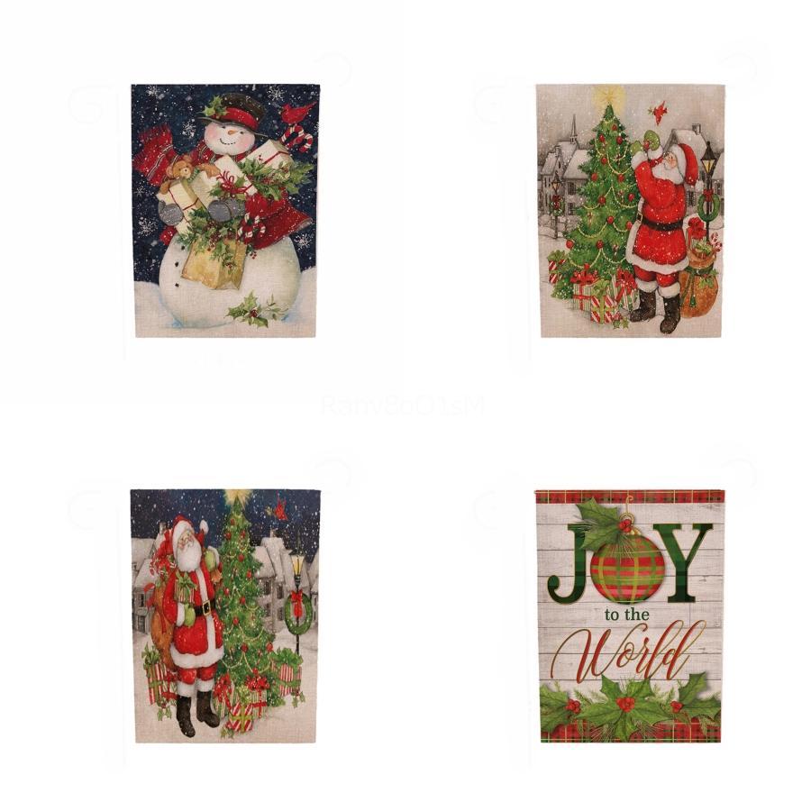 Creative Christmas Cotton Lino Mantel de mesa Bandera de mesa Navideña Decoración de escritorio Tabla Roja Blanco Blanco Mantel de copo de nieve Navidad # 201