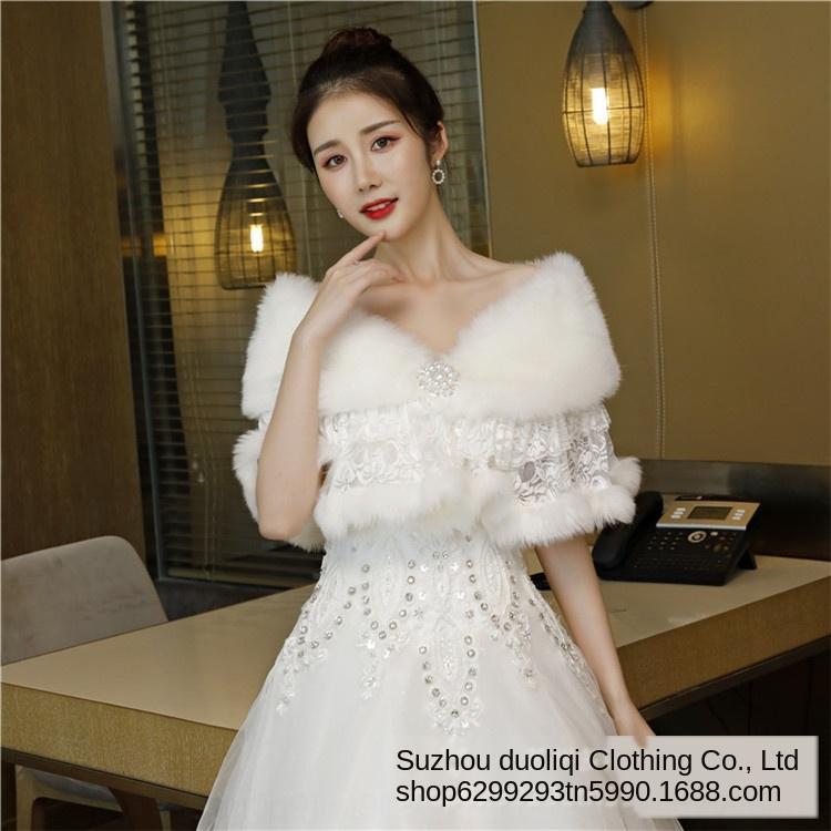 châle mariée châle de laine robe de demoiselle d'honneur robe de mariée manteau printemps automne de mariage des femmes et l'hiver nouveau cap cheongsam chaud de l'extérieur