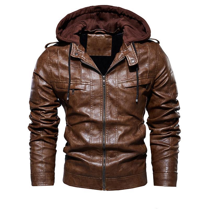 2020 Hommes Vintage Motorcycle Jacket Mens Outdoor Casual veste en cuir PU manteau d'hiver homme col à capuche Vestes club Bomber