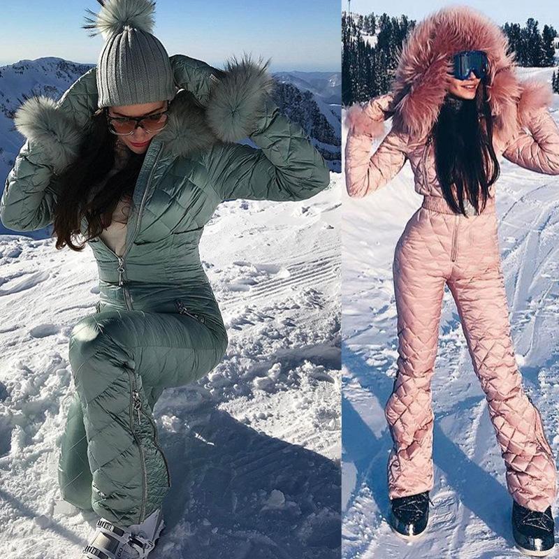2020 Ski Set-Overall mit Kapuze Frauen Overalls Outdoor Sport Snowboard-Jacke der One-Piece Skianzug Warme wasserdichte Winterkleidung