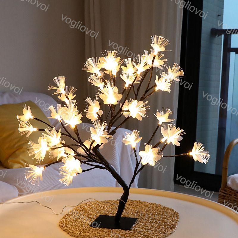 Ночные огни светодиодный кристалл вишневый цвет дерева света 24 36 48LED настольная лампа рождественские сказочные украшения свадьбы крытое освещение