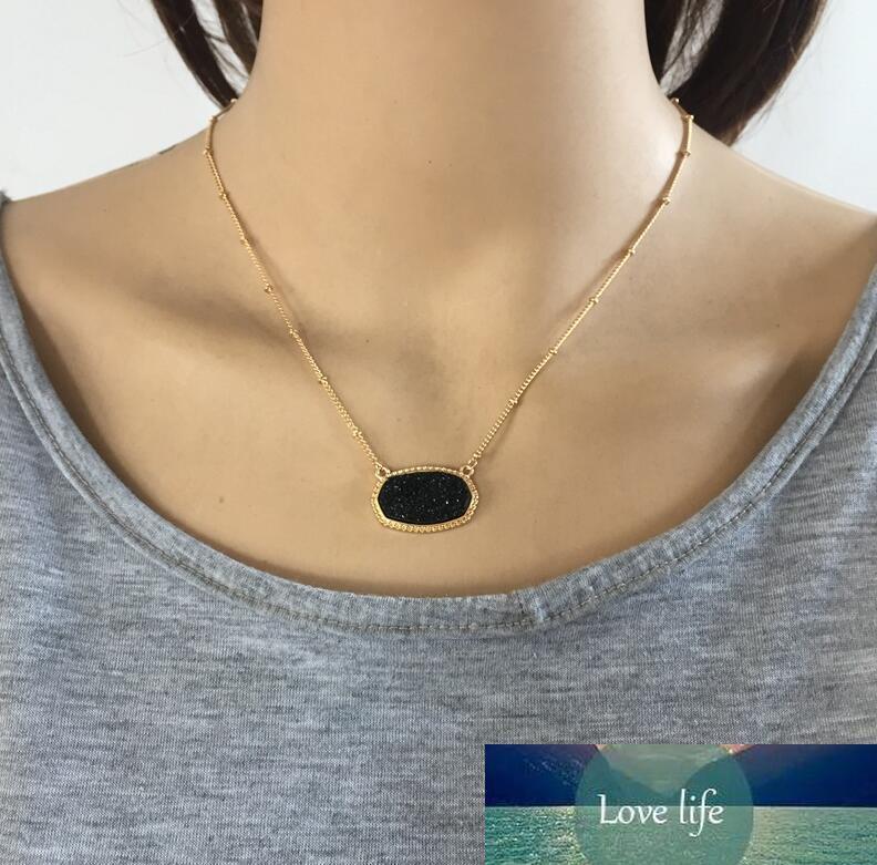 11 couleurs Grand Collier de pendentif drusy druzy irisé druzy avec des boucles d'oreilles hexagonales assorties jeux de bijoux à chaud
