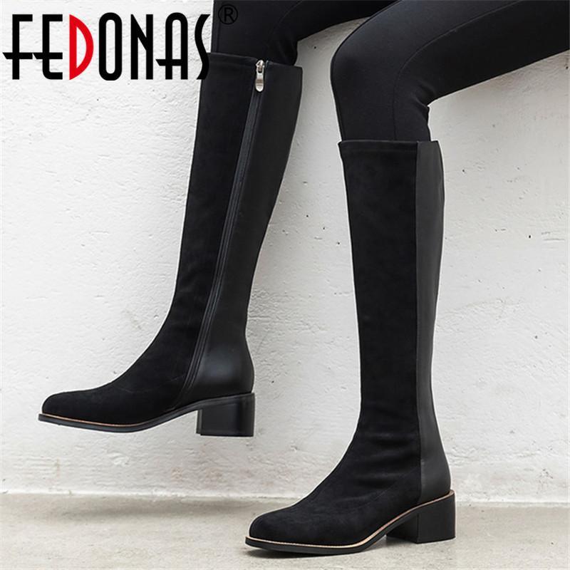 أحذية الركبة FEDONAS الشعبية العليا أحذية نسائية خريف وشتاء السوستة الجانبية نساء الحزب الأساسية إمرأة كلاسيكي سميكة الكعب العالي أحذية