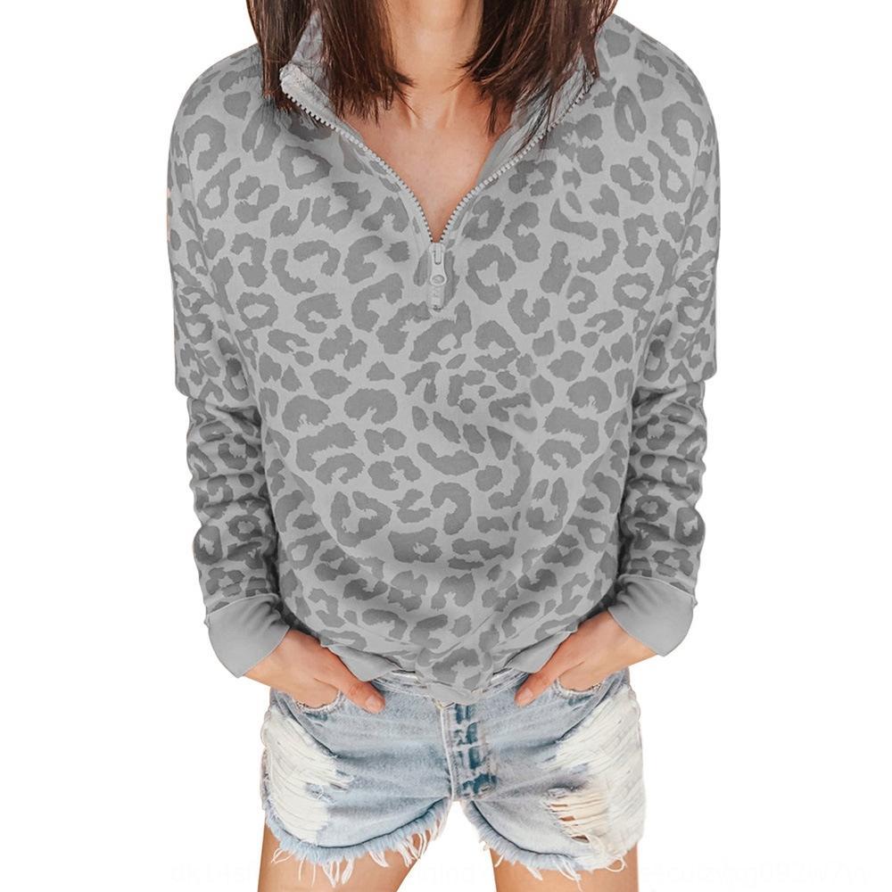 sEgQB 2020 otoño y el invierno de Nueva espesó sencilla de gran tamaño pequeño collar del soporte de la cremallera de las mujeres arriba del todo-fósforo Top suéter 253327