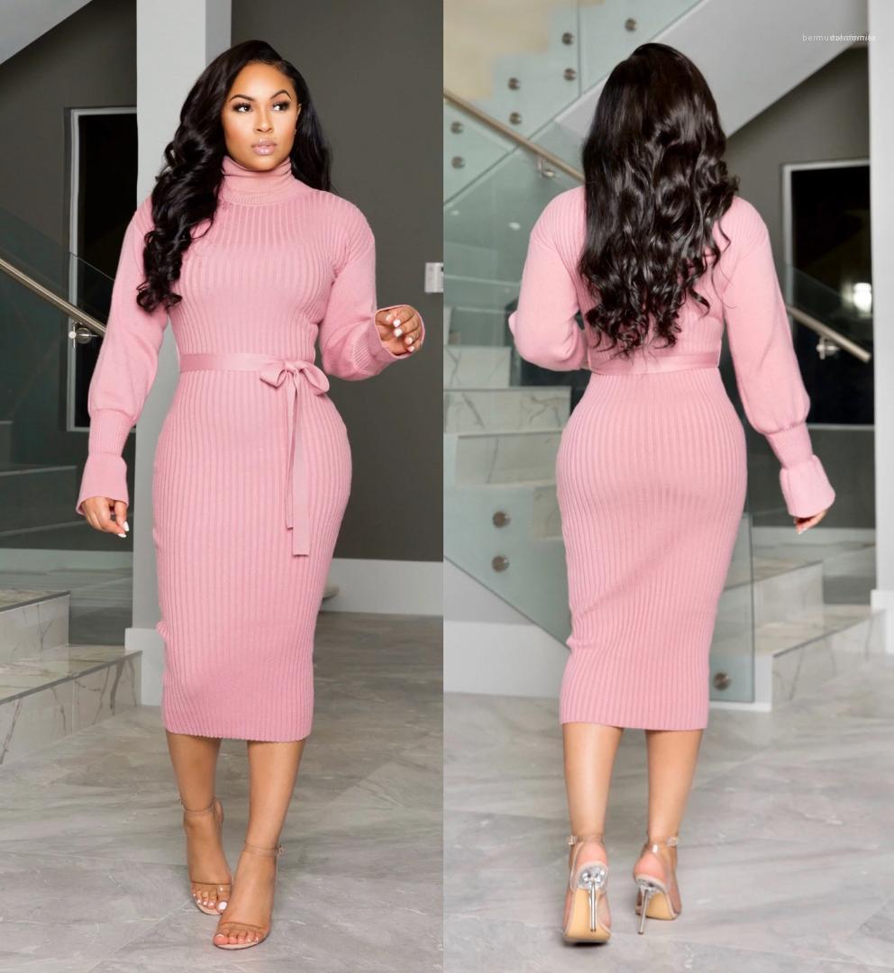 Mujeres delgadas de vestir Mujer Ropa para mujer 2020 diseñador del vestido ocasional de la manera con paneles de vestidos de manga larga de color sólido