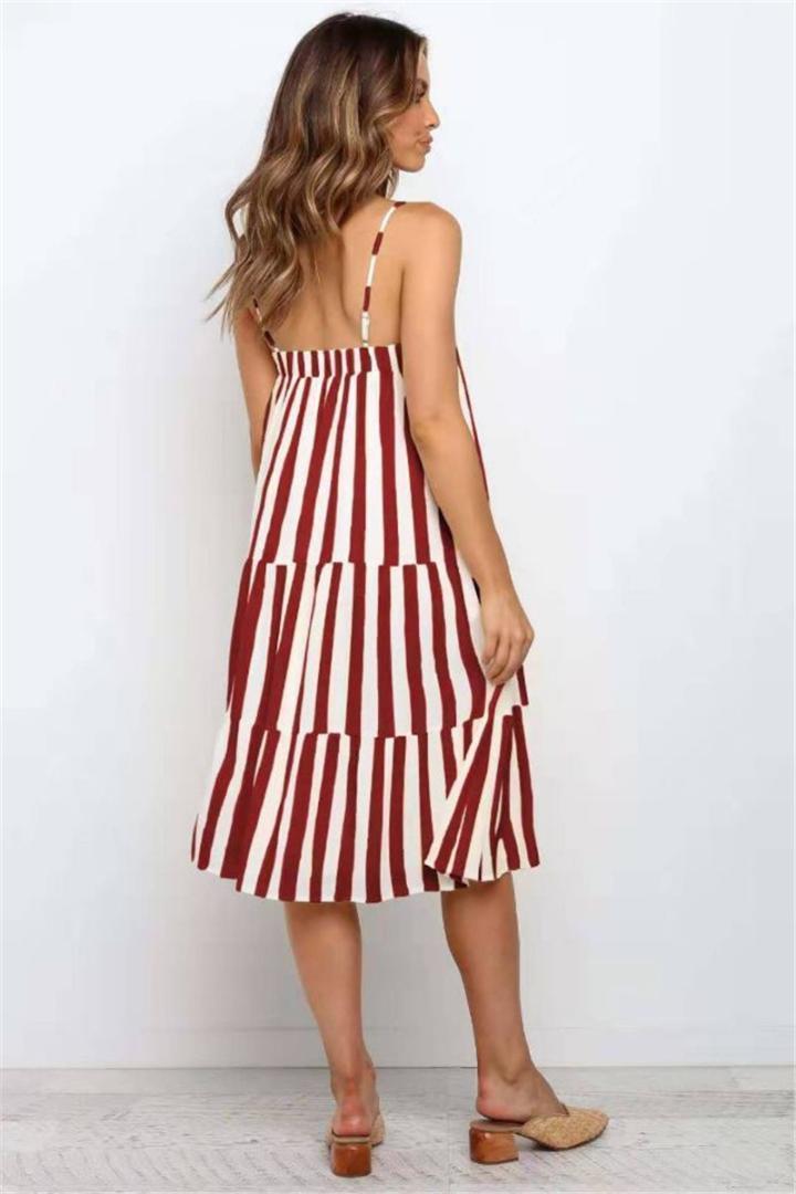 La nueva llegada de las mujeres vestidos de 20SS diseñador de las mujeres vestidos de la manera de la correa de espagueti de la raya vertical de rayas de cuello vestidos de Midi