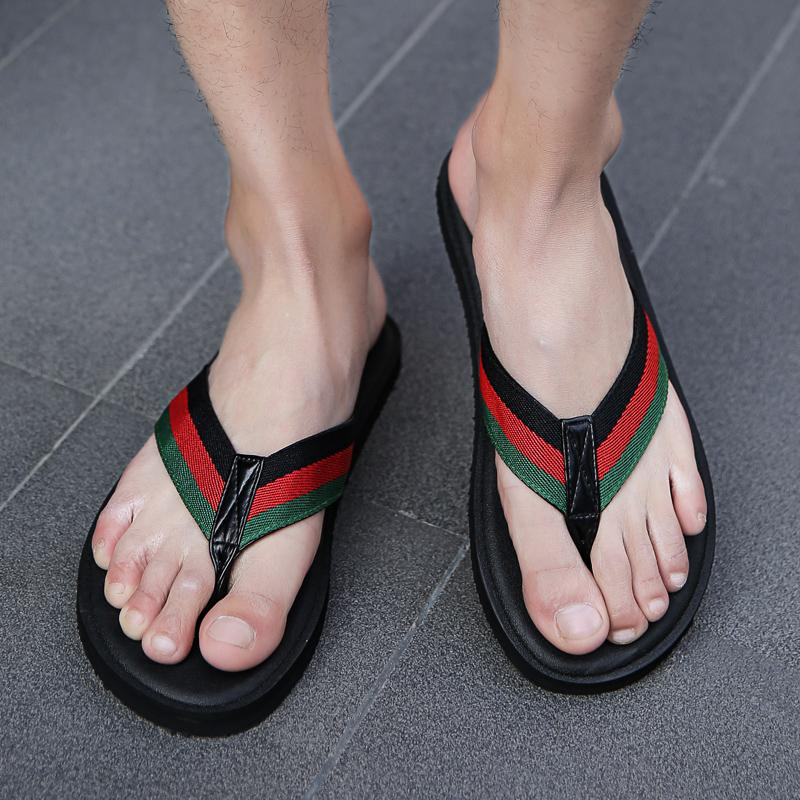 hommes design de luxe impression brocart floral rayé plage de cause à effet pantoufle pantoufle mâle Flip Flops Gear hommes sandales pantoufles glisser