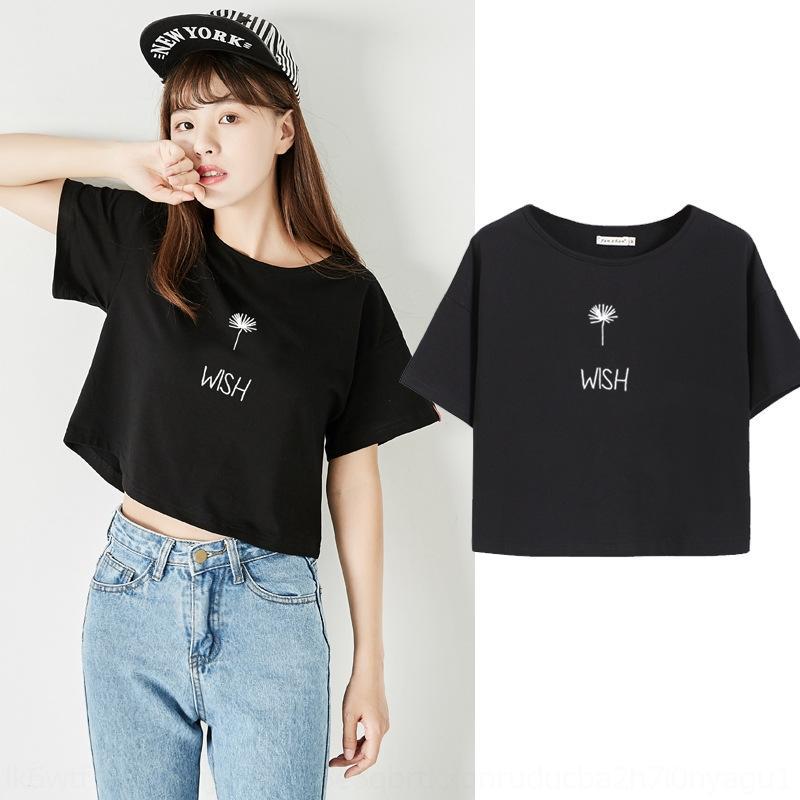 c3f3W T-shirt 2019 studenti cappotto nuovo T-shirt ombelico perdite allentato superiore breve 2vyQ4 vita alta cima delle donne ombelico usura ultra breve estate coreana