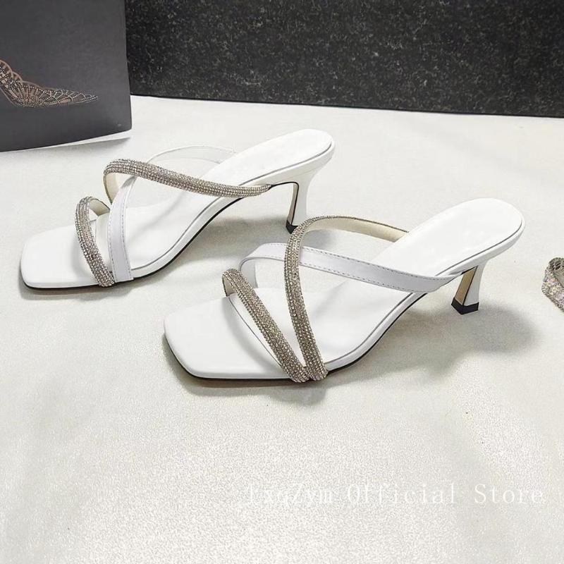 2020 новые летние дамы сандалии квадратная голова с открытым носком сексуальные сандалии неглубоко рот партии дамы случайные высокие каблуки высокие 6.5cm
