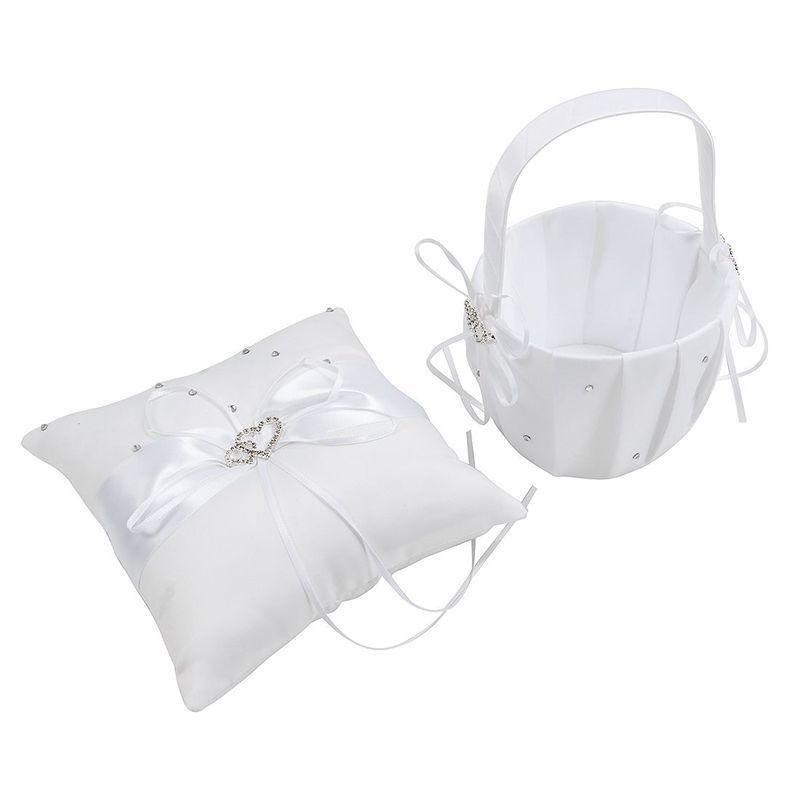 2 flores de raso corazón diamantes de imitación de Marfil cesta de la muchacha y la almohadilla del anillo Conjunto de lejía