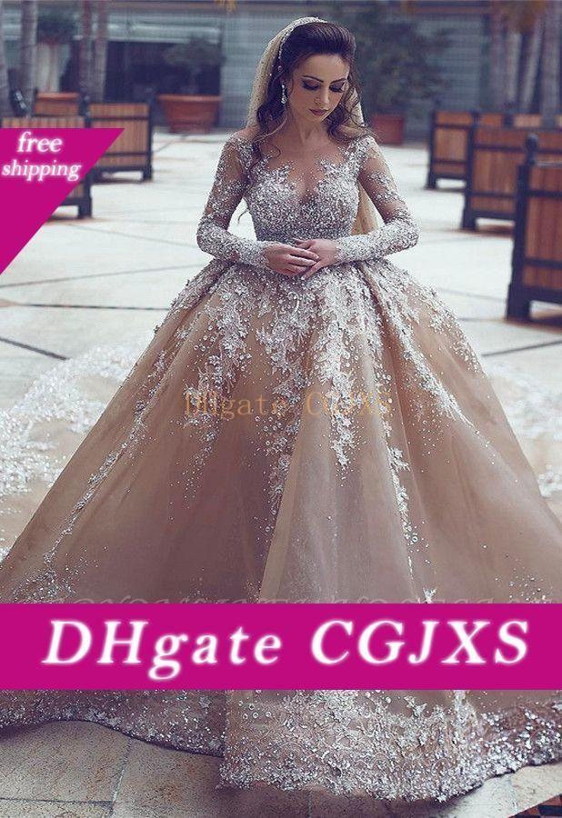 2020 vestido de novia de lujo Listones bola -Gown Apliques largo envuelva V-Link moderno con gradas del vestido de novia Faldas