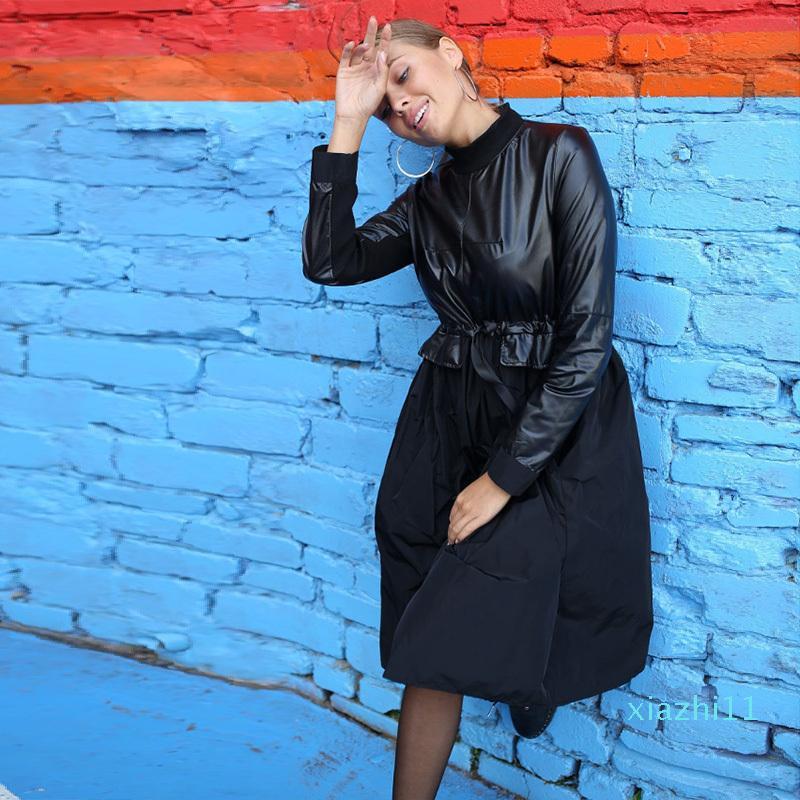 Sólido un vestido de época Línea Midi venta caliente remiendo de la PU partido de los marcos de manga larga del collar del soporte de Invierno 2019 Nueva Moda Negro