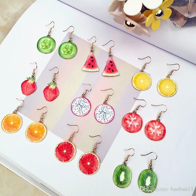 Cgjxs forma fruta em forma de brinco adorável frutas da melancia de Apple Morango Kiwi Brinco Para Mulher e menina frete grátis