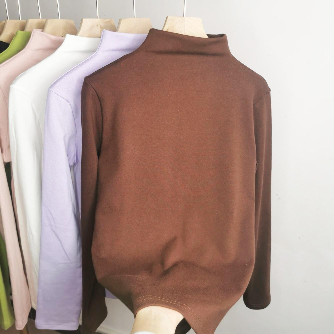 s4vEH Sj7Jt 2020 et T-shirt chaud de base T- col à mi-hauteur intérieure mince chemise de couleur unie automne usure chaud à manches longues hiver de femme