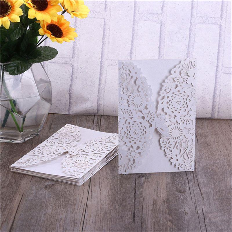 10pcs verticale Laser Cut papillon Invitation Kits cartes pour mariage nuptiale douche fête d'anniversaire de mariage fournitures de décor