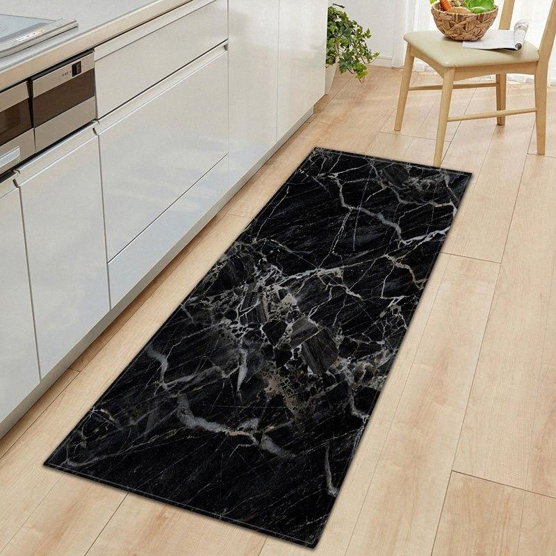 1 PC Anti-Slip Kitchen Carpet Black White Marble Printed Entrance Doormat Floor Mats Carpets for Living Room Bathroom Mat Rugs fuwX#
