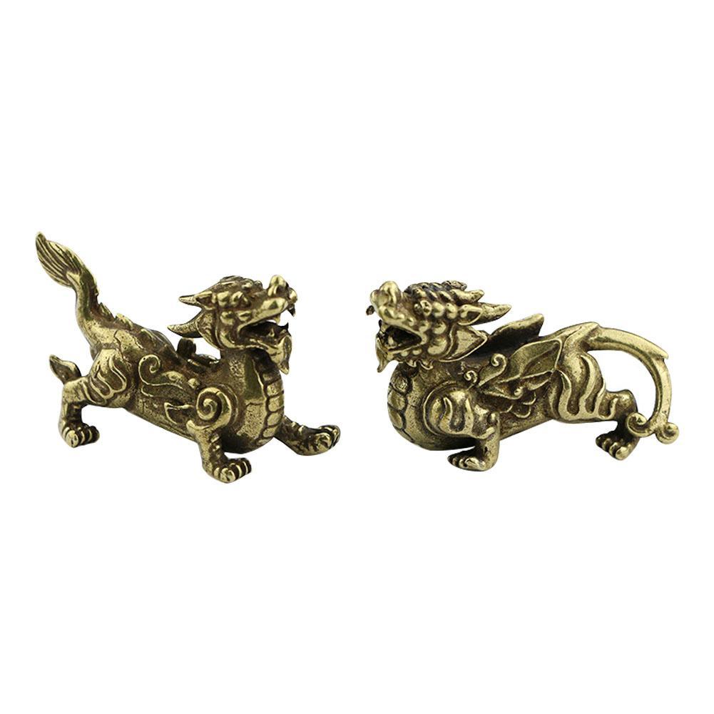 1pair Cobre Miniatura ornamento Desk Decoração Pi Xiu Escultura animal Vivid