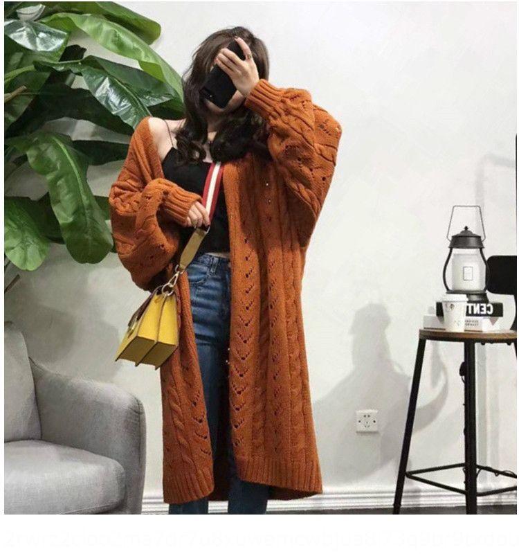 eUvdr CAPgm linterna prendas exteriores adelgazar chaqueta de punto flojo del todo-fósforo suéter de la capa de mitad de longitud de la ropa 2019 de la manga y el invierno de las mujeres sweate