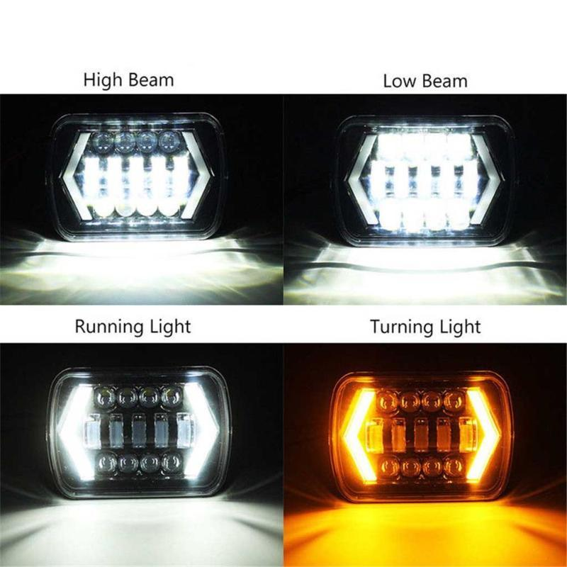 New 7 inch 5X7 Jeep Square Light 6x7 Truck Headlights 7 inch Jeep Car Headlights high beam day line steering Amber brighter