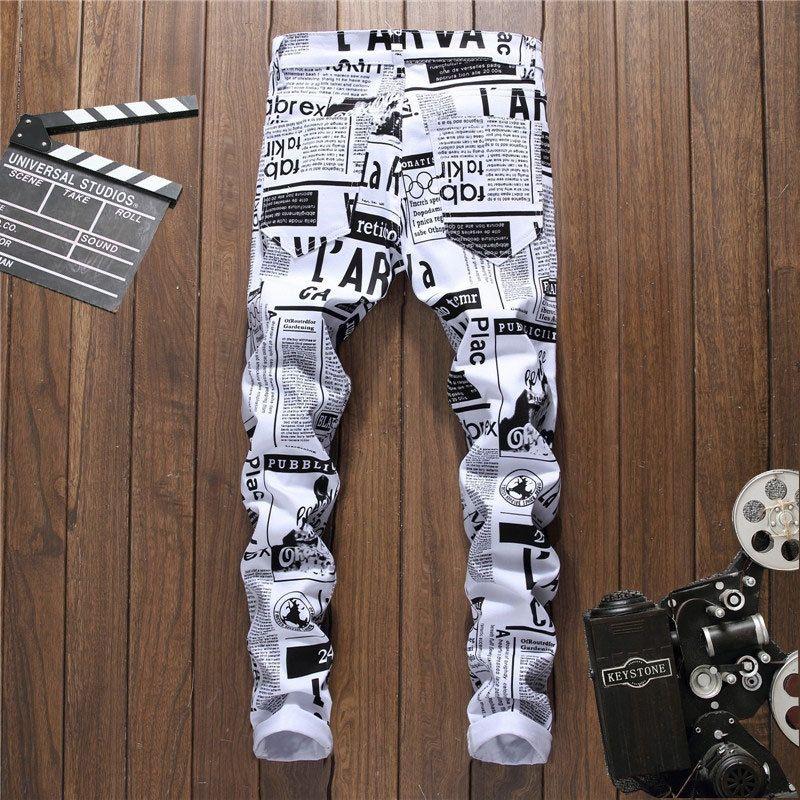 cpENb chanteur jean Painted pour hommes imprimés personnalisés Les hommes de jean Les night-club à la mode casual mince et un pantalon