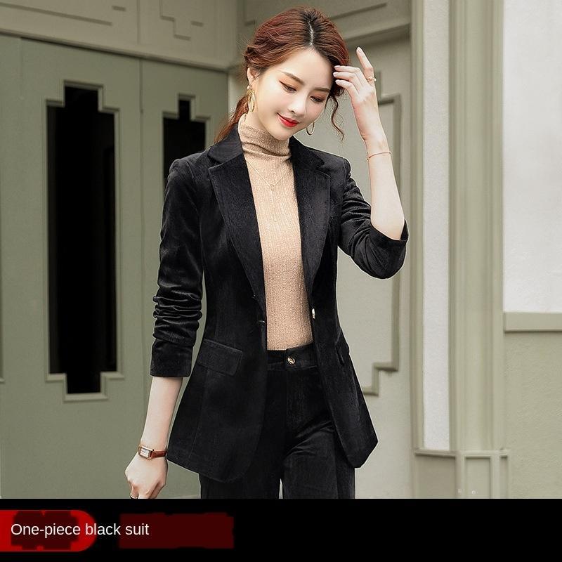 qKE5C Qzd0p Fried ince elbise kadın sonbahar yeni takım elbise uzun gelişmiş duygusu manşon tüm maç kadife moda Wick coatCoat ceket sokak Casua