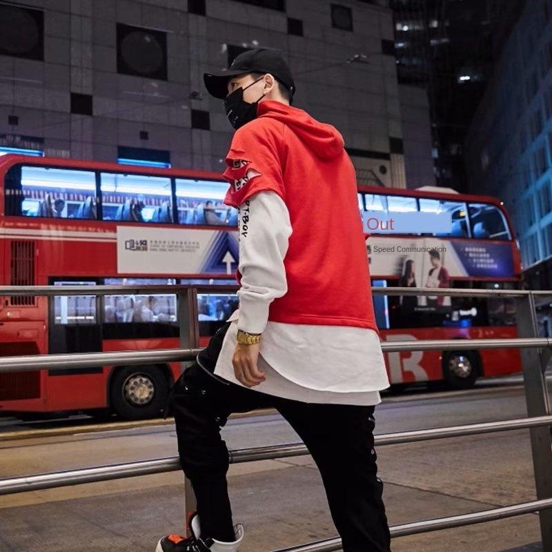 VfICC erkekler Kore bahar moda öğrenci gevşek Delik delme kapüşonlu tüm maç moda ceket tarzı ve sonbahar Coat gençlik kazak 5zBzw kazak m
