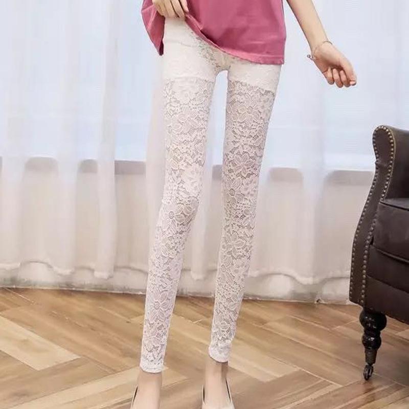 FBFon 9XmL2 Yiwu Frühjahr Kleidung Gamaschen dünne feste Hosen enge Hosen Strumpfhosen schnüren Frauen Netz 2020 hohe Taille neue hohe Taille Spitzegamaschen