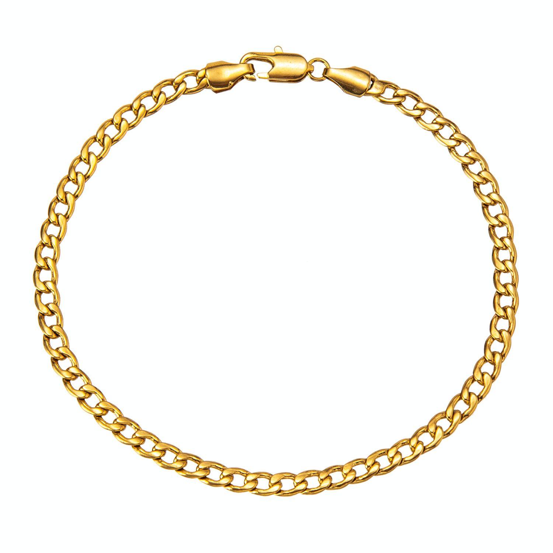 4 millimetri Cuban Catena Colore Oro / oro bianco ColorAnklet, 9 10 11 pollici braccialetto alla caviglia per le donne gli uomini T200901 impermeabile