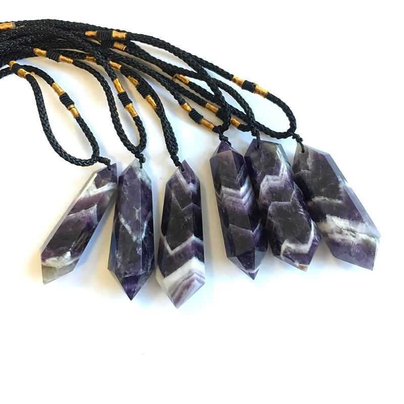 Природный кристалл Аметист ожерелье кулон ювелирные изделия (мощность шероховатой кристалл полированные) двойной остроконечный кристалл башня ювелирные изделия кулон AHD1139