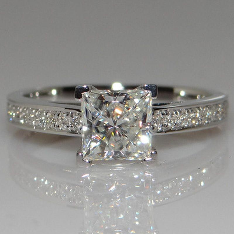 925 anelli d'argento per i monili delle donne da cerimonia nuziale semplice quadrato di disegno nuziale Anello di fidanzamento