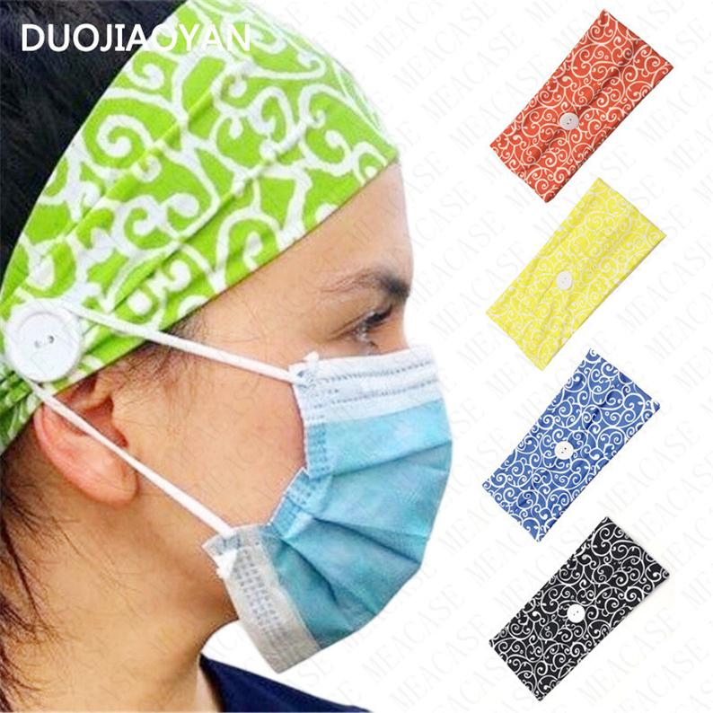Women Summer Wide Elastic Mask Anti-leash Button Headband Yoga Ladies Fashion Printing Casual Sports Absorb Sweat Female Headband D8502