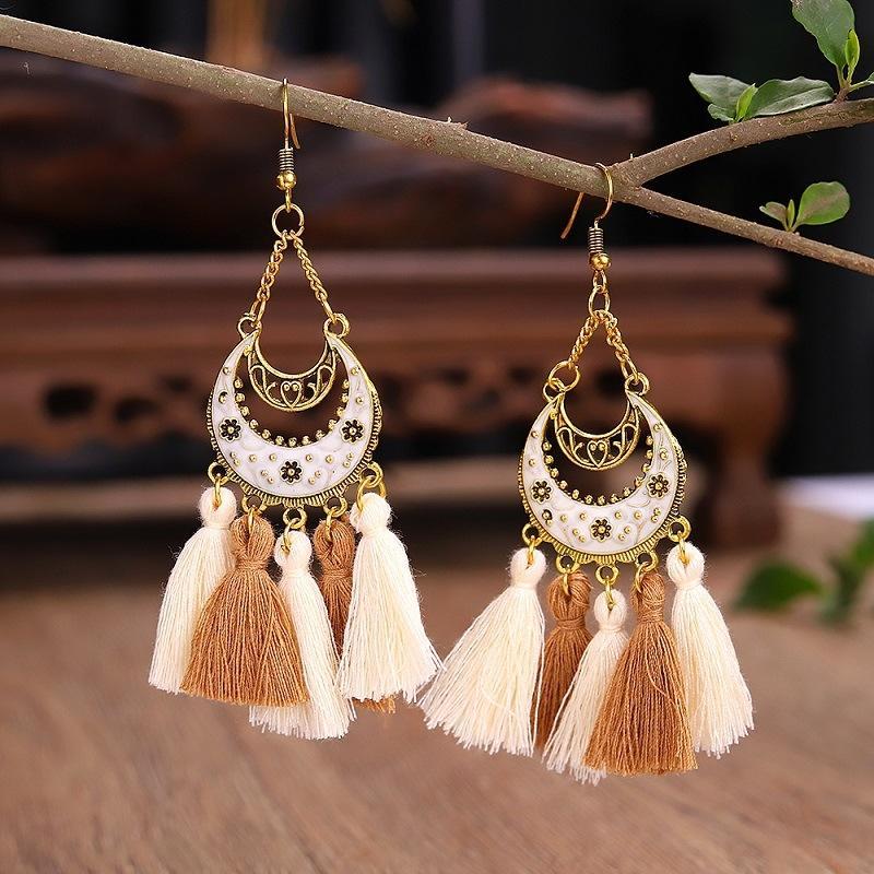 lungo e nappa intagliata in lega accessori nappa e orecchini lunghi scolpiti lega orecchini accessori b2jvN