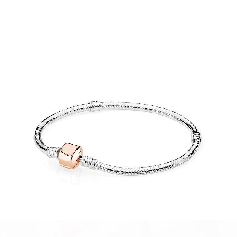 18K Rose Gold Clip classic BRACELET Set Original Box for Pandora 925 Sterling Silver Snake Chain Charms Bracelets for Women Mens