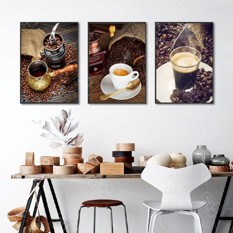 Nordic Coffee Themed Photography Canvas Painting Modern Wall Art Picture for Kitchen Room Decoration Posters and Prints No Frame