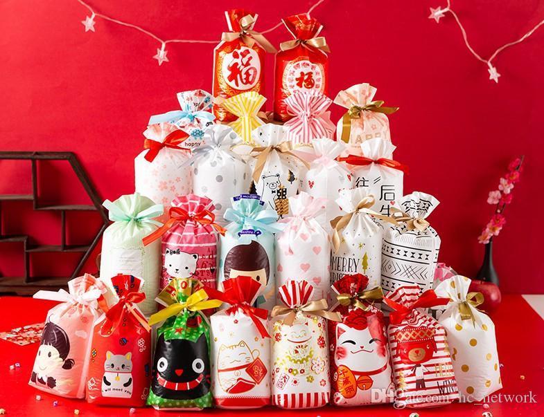 İpli Şeker Noel Baba Ağacı Elk Kar Gıda Saklama Hediye Paketleme Paketi ile 50 Adet Noel Treat Çanta