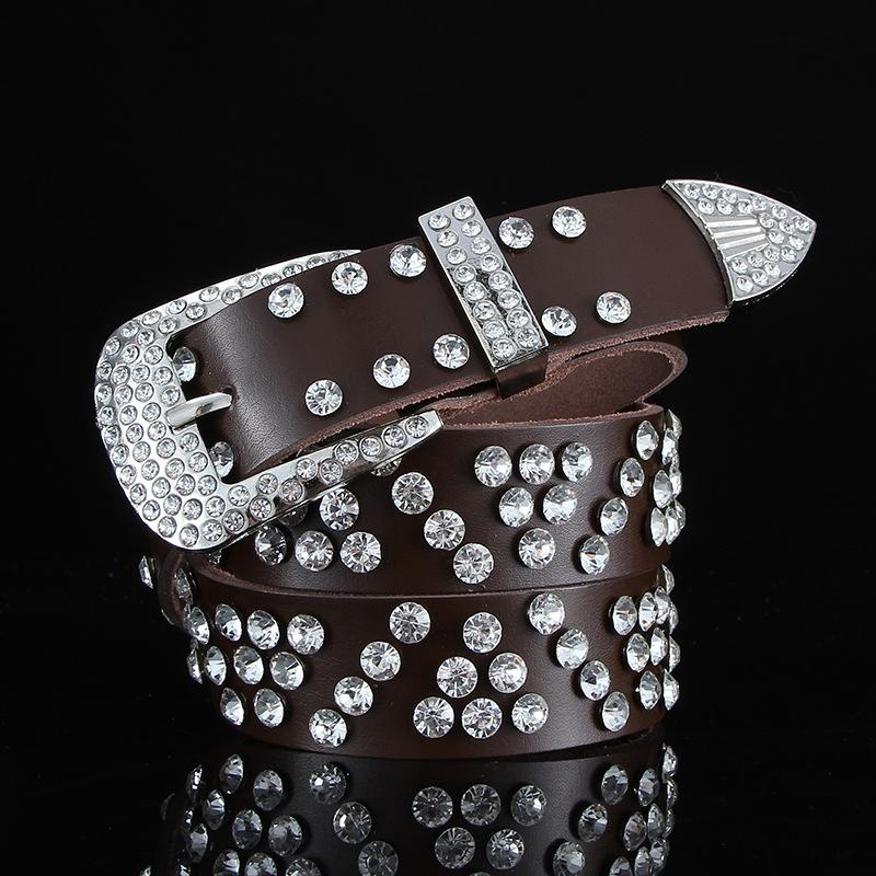 rhinestone de la manera coreana del estilo de los pantalones vaqueros de diamante imitación de diamante cowbelt amplios pantalones vaqueros con diamantes de las mujeres versátiles cinturón