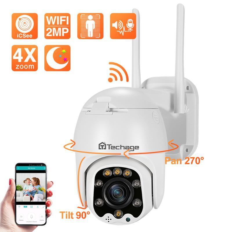 Techage Wifi PTZ IP Kamera 1080P HD 4X Yakınlaştırma Çift Yönlü Ses Kablosuz PTZ Kamera Açık IR video AI İnsan ONVIF Ev Güvenlik Algılama